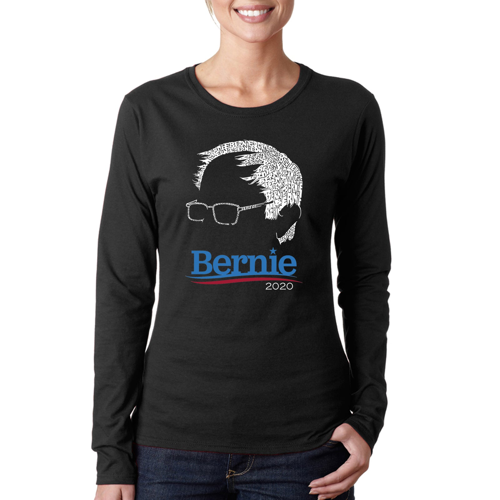 Women's Word Art Long Sleeve T-Shirt - Bernie Sanders 2020