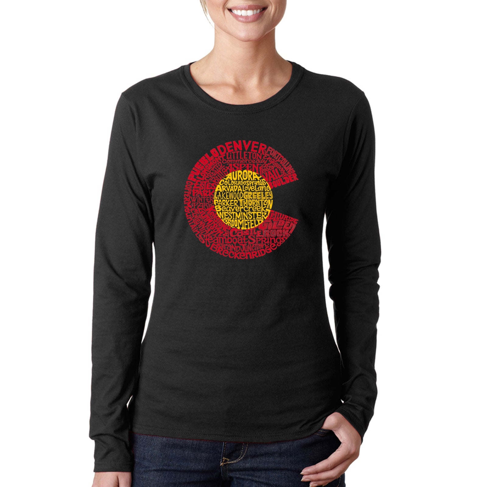 Women's Word Art Long Sleeve T-Shirt - Colorado