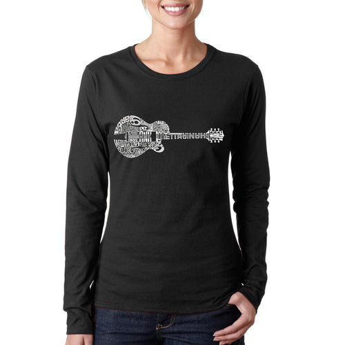 Women's Long Sleeve T-Shirt - Country Guitar