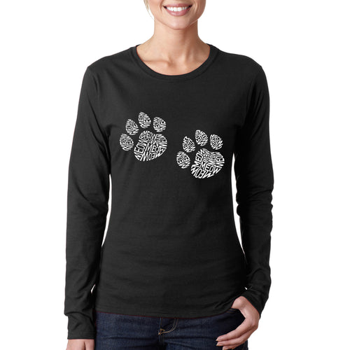 Women's Word Art Long Sleeve T-Shirt - Meow Cat Prints