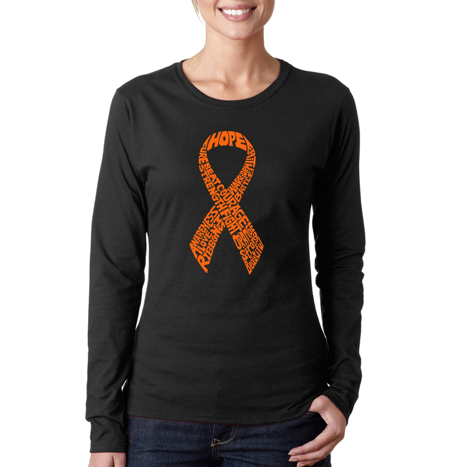 Women's Word Art Long Sleeve T-Shirt - Ms Ribbon
