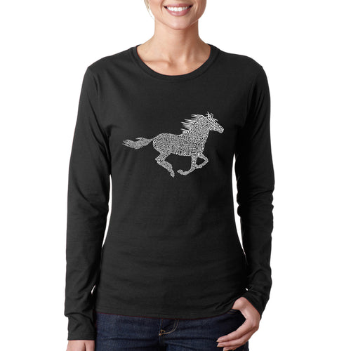 Women's Word Art Long Sleeve T-Shirt - Horse Breeds