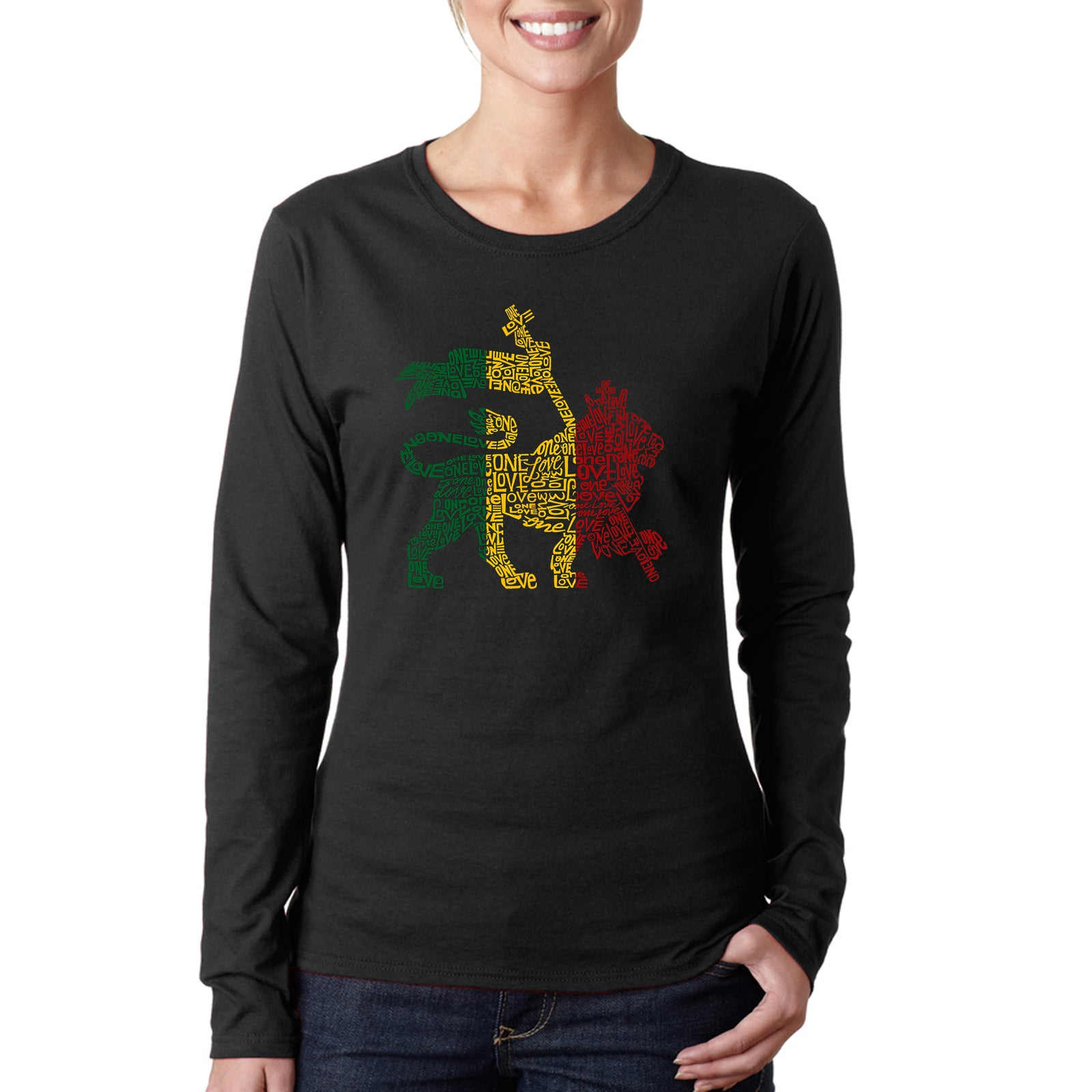 Women's Long Sleeve T-Shirt - Rasta Lion - One Love