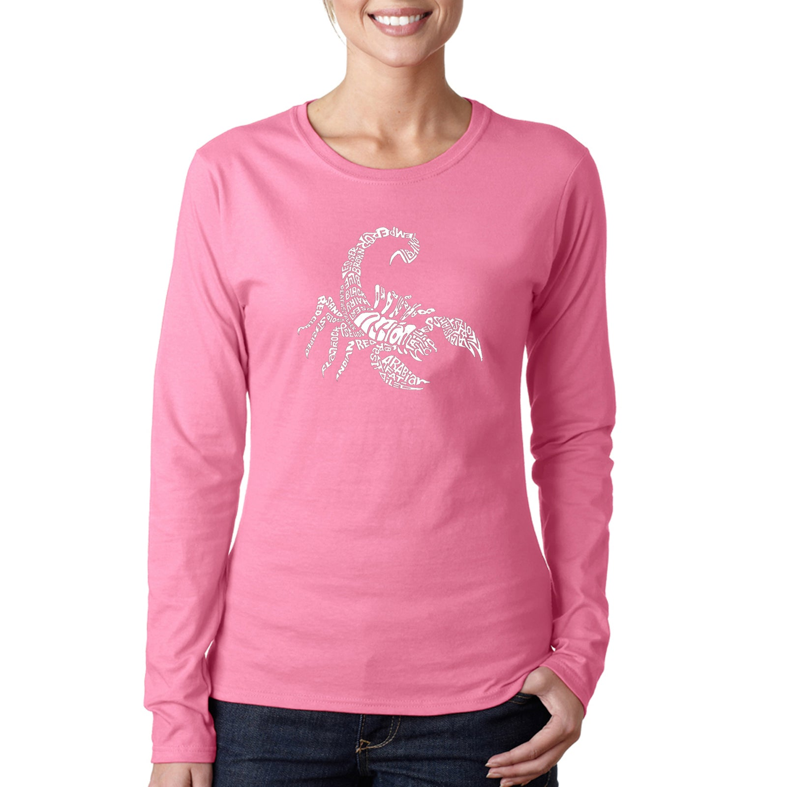 Women's Word Art Long Sleeve T-Shirt - Types of Scorpions