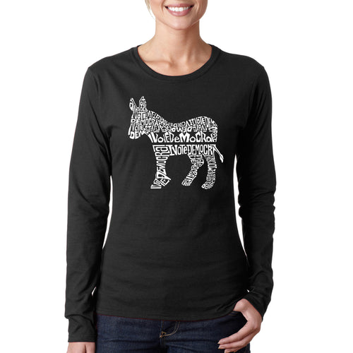 Women's Long Sleeve T-Shirt - I Vote Democrat