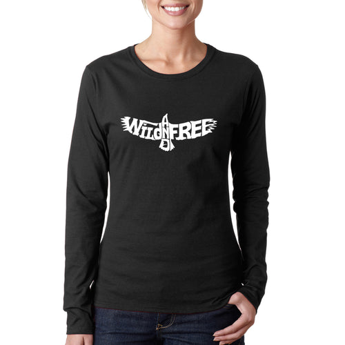 Women's Word Art Long Sleeve T-Shirt - Wild and Free Eagle