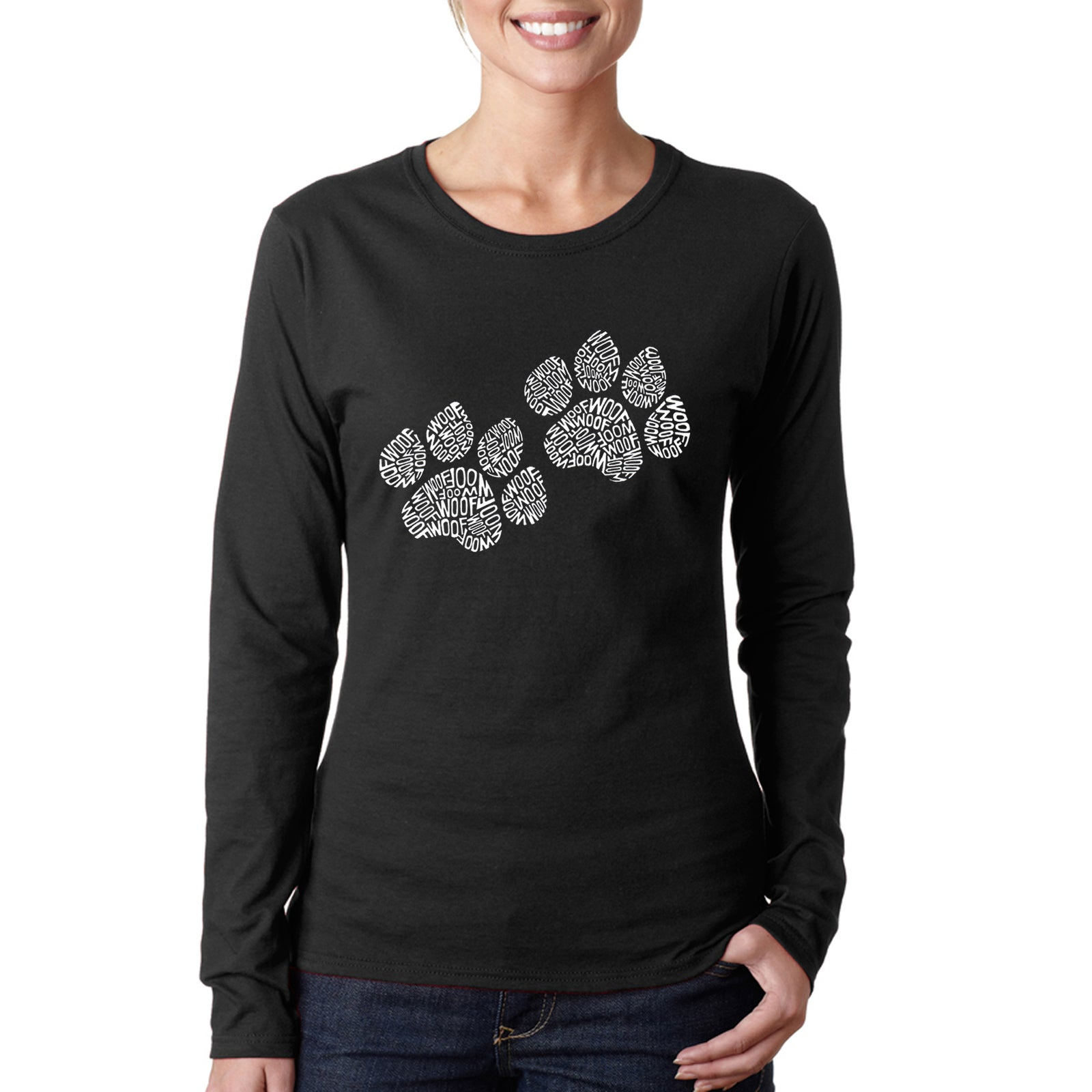 Women's Long Sleeve T-Shirt - Woof Paw Prints