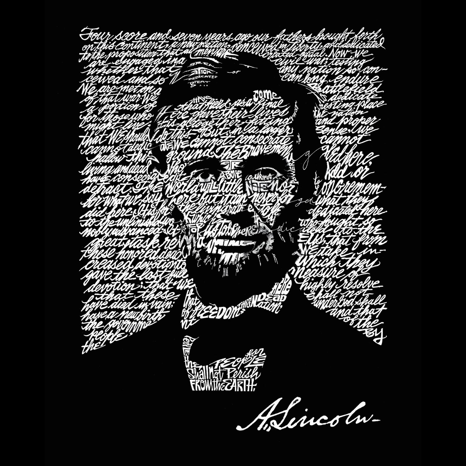 Women's Loose Fit Dolman Cut Word Art Shirt - ABRAHAM LINCOLN - GETTYSBURG ADDRESS