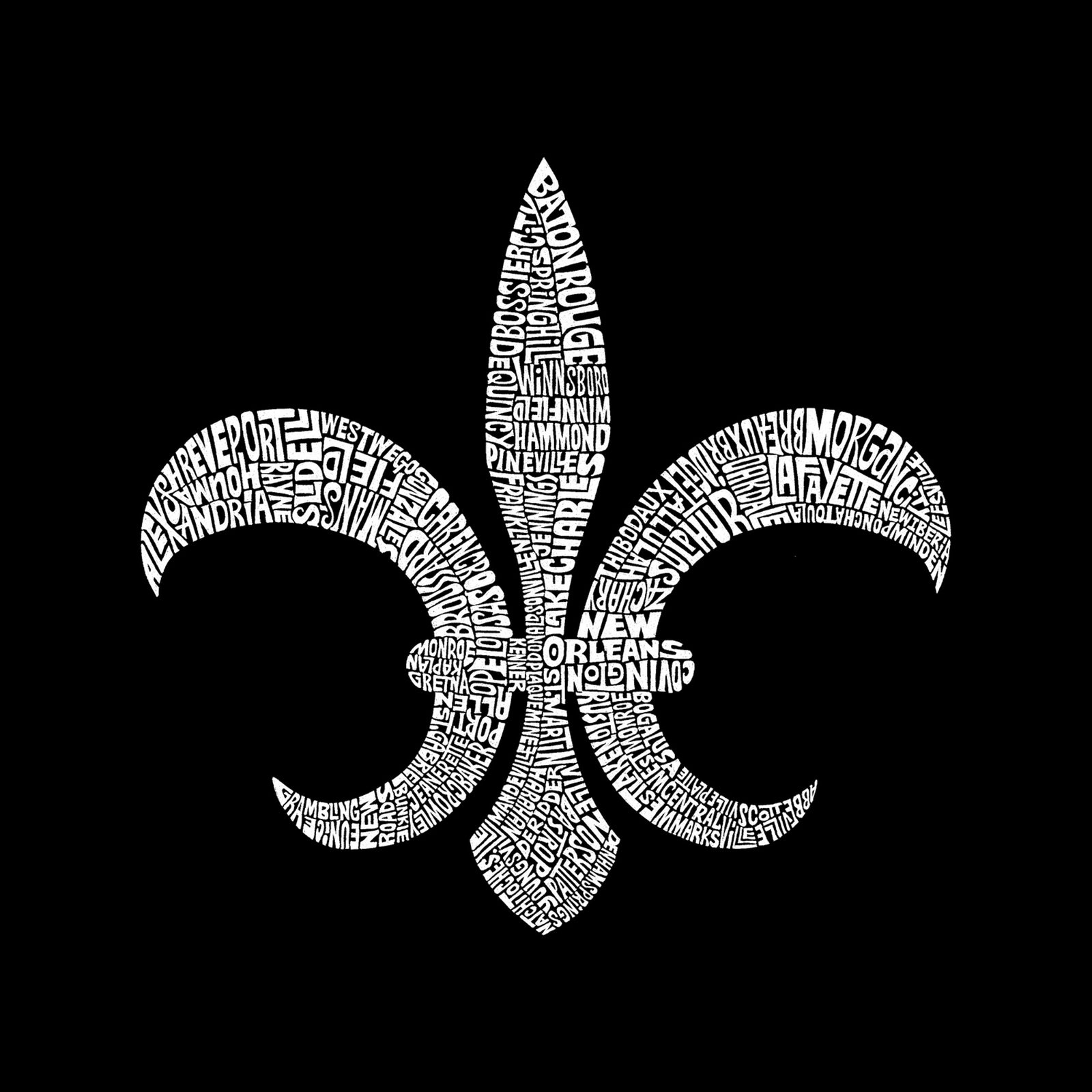 Women's Premium Word Art Flowy Tank Top - FLEUR DE LIS - POPULAR LOUISIANA CITIES