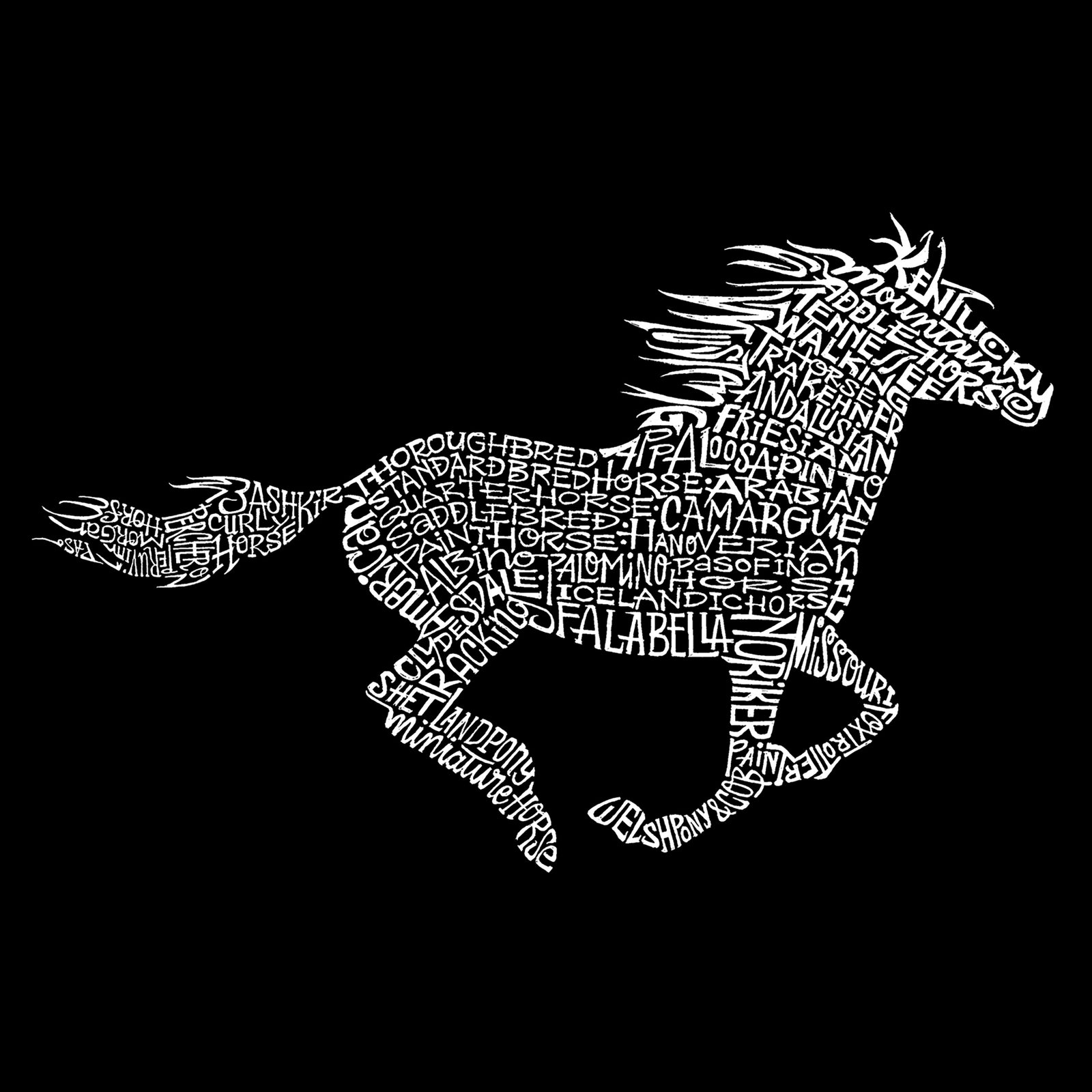 Women's Premium Blend Word Art T-shirt - Horse Breeds