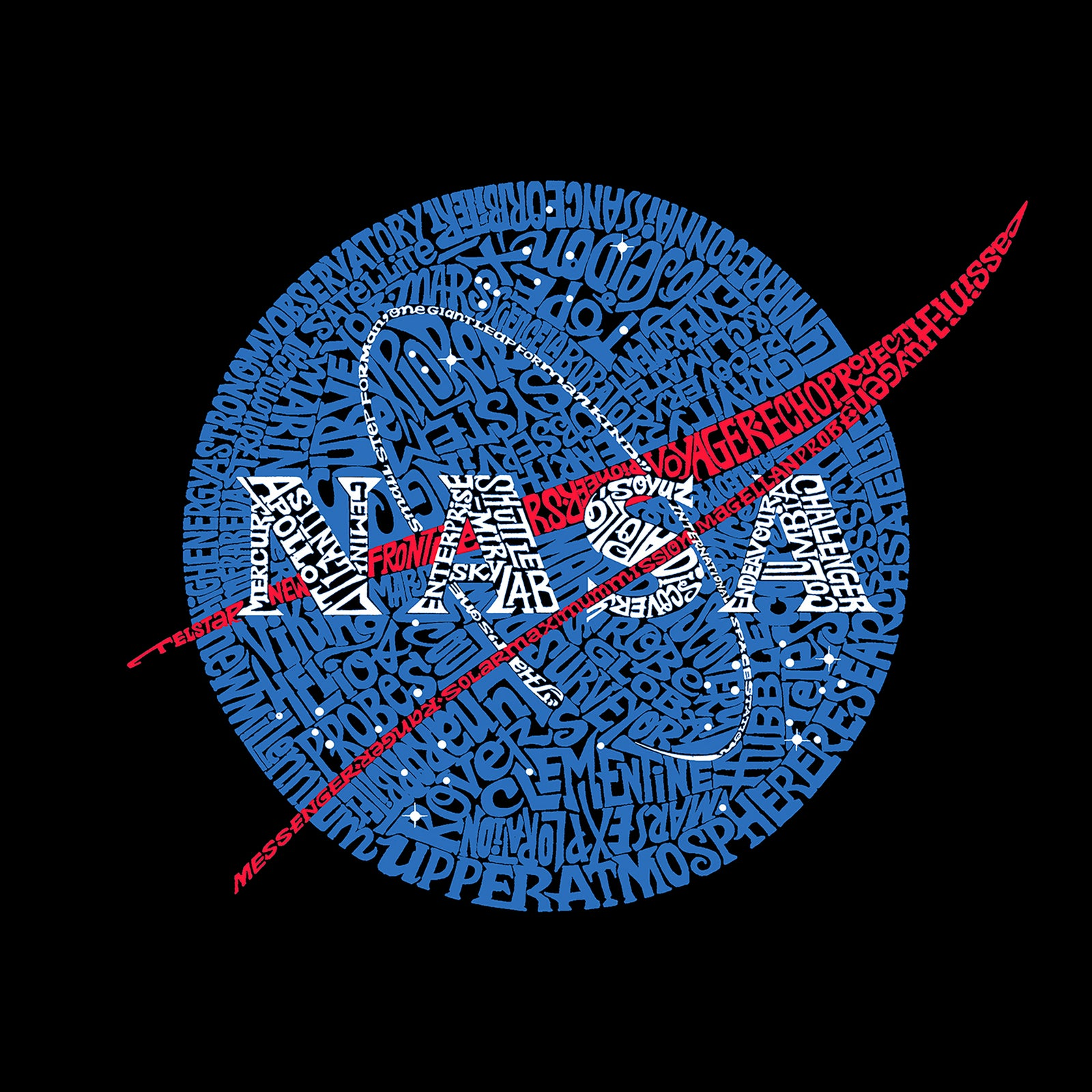 Throw Pillow Cover - Word Art - NASA's Most Notable Missions