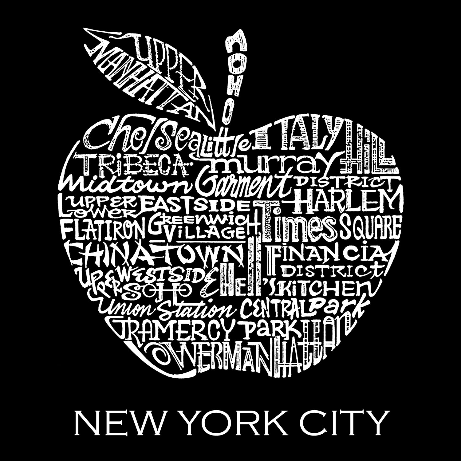 Men's Tall and Long Word Art T-shirt - Neighborhoods in NYC