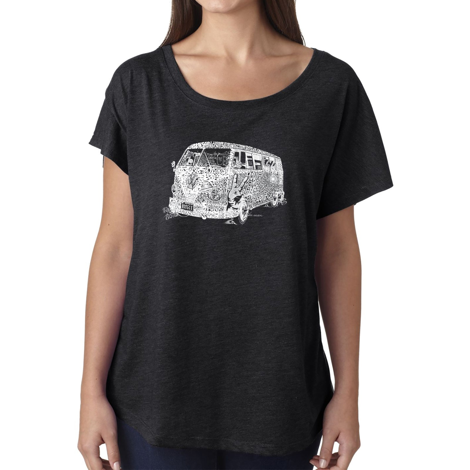 Women's Loose Fit Dolman Cut Word Art Shirt - THE 70'S