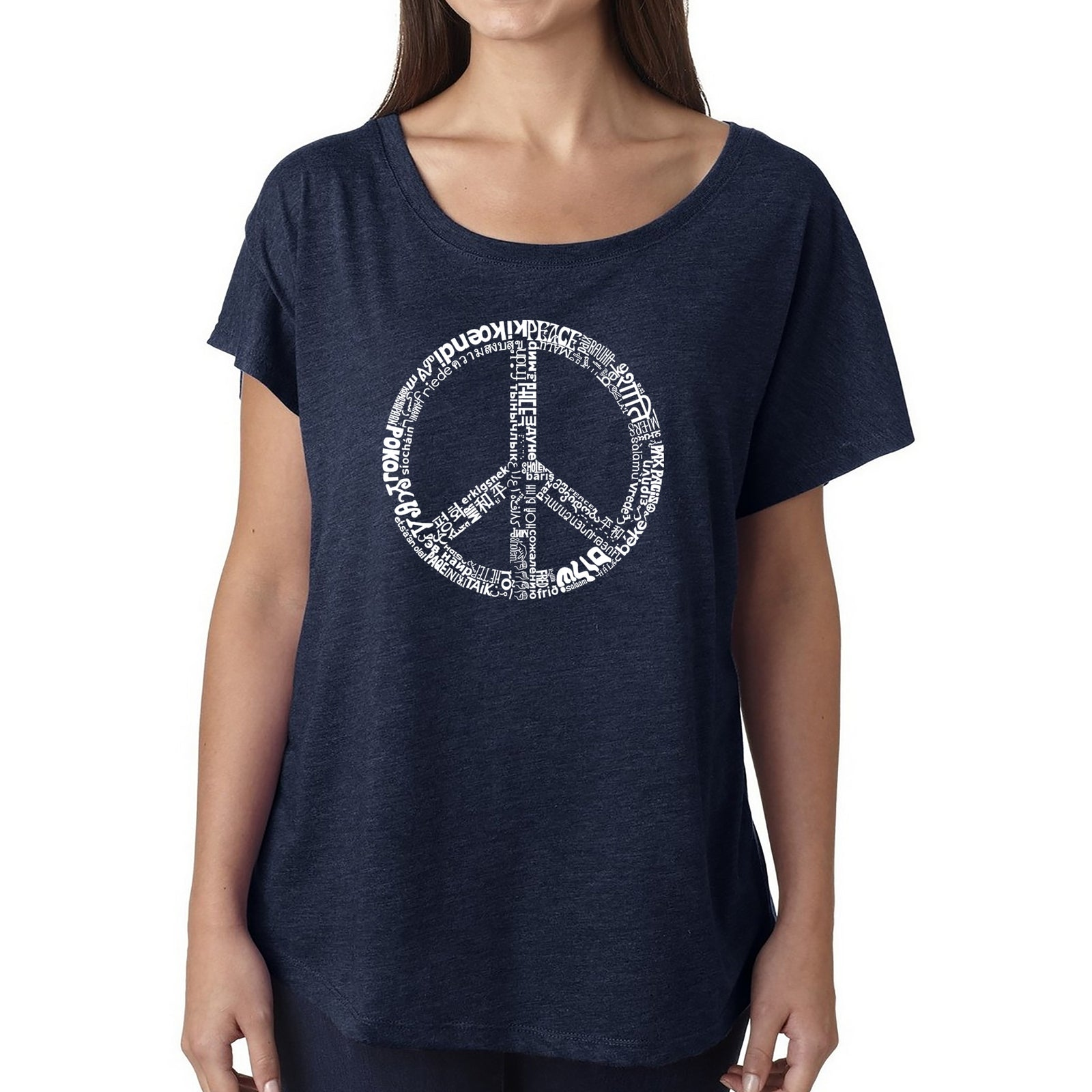 Women's Loose Fit Dolman Cut Word Art Shirt - THE WORD PEACE IN 77 LANGUAGES