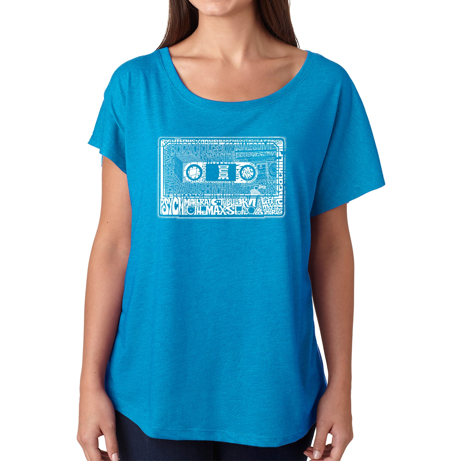 Women's Loose Fit Dolman Cut Word Art Shirt - The 80's