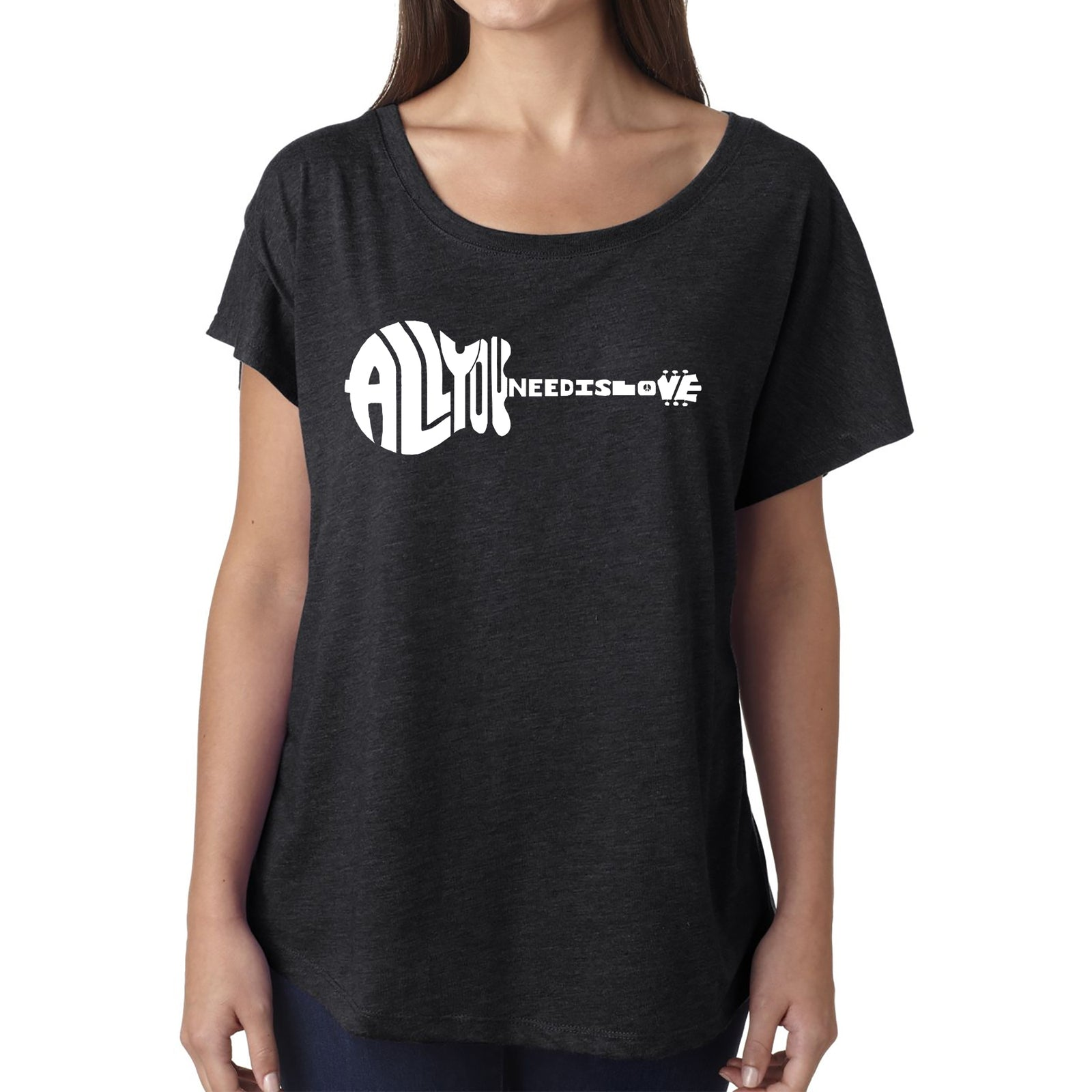 Women's Loose Fit Dolman Cut Word Art Shirt - All You Need Is Love