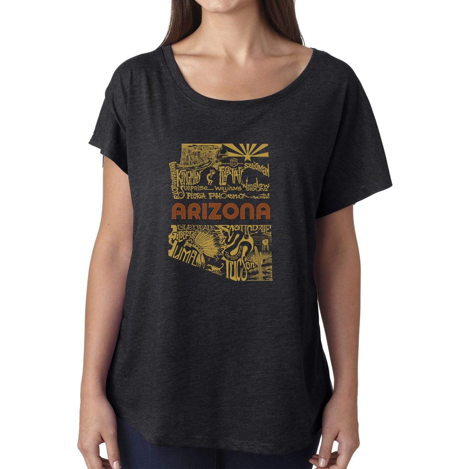 Women's Loose Fit Dolman Cut Word Art Shirt - Az Pics