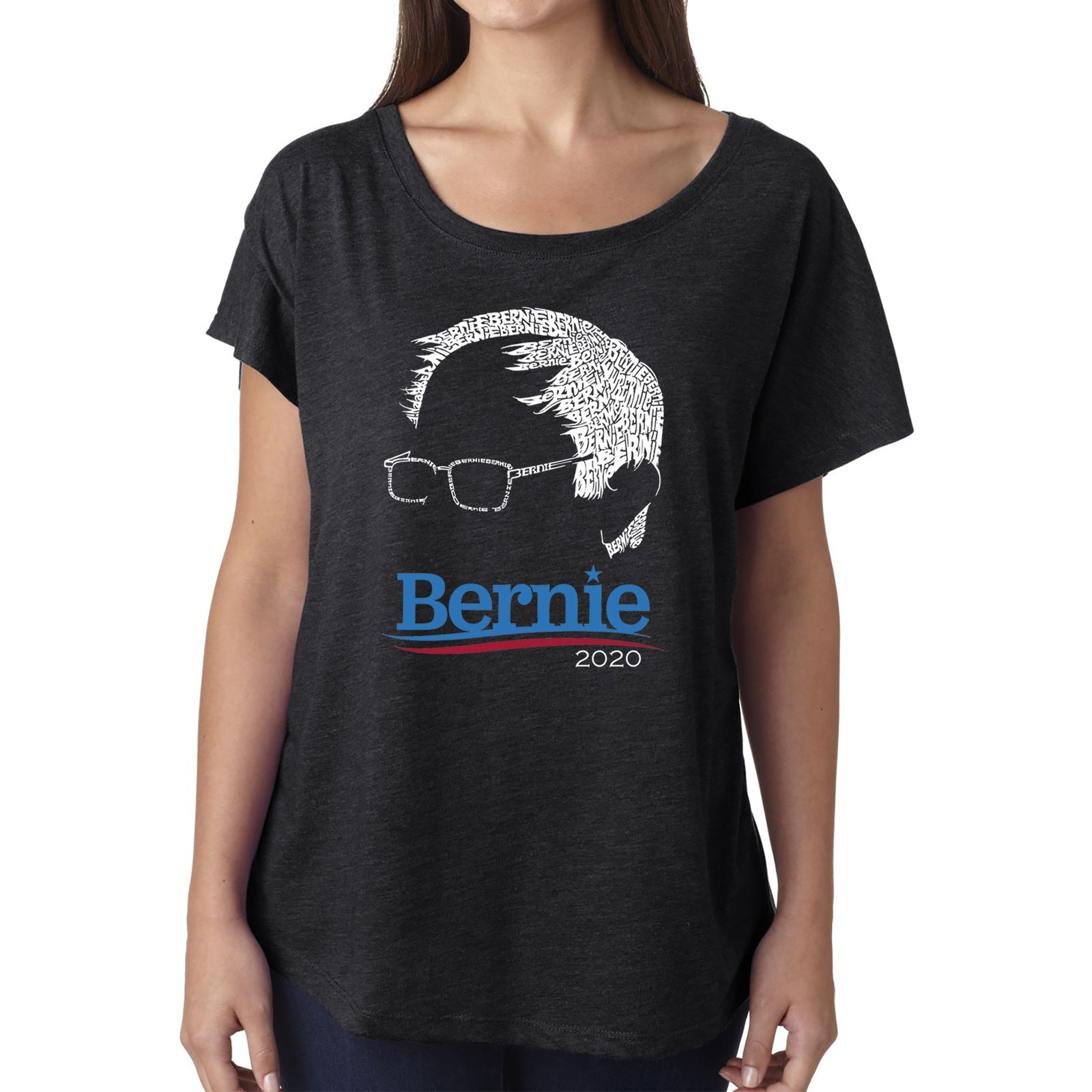 Women's Loose Fit Dolman Cut Word Art Shirt - Bernie Sanders 2020