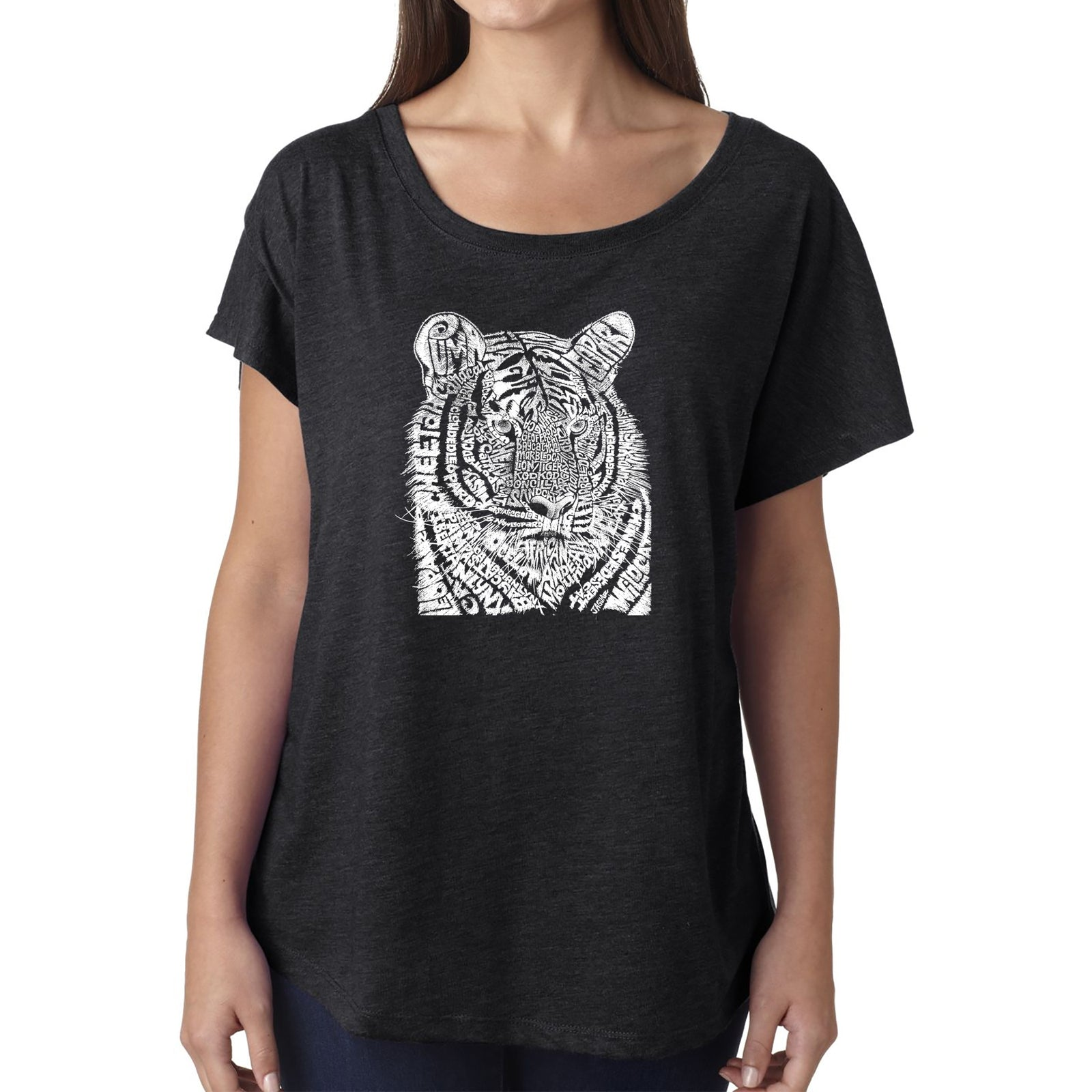 Women's Loose Fit Dolman Cut Word Art Shirt - Big Cats