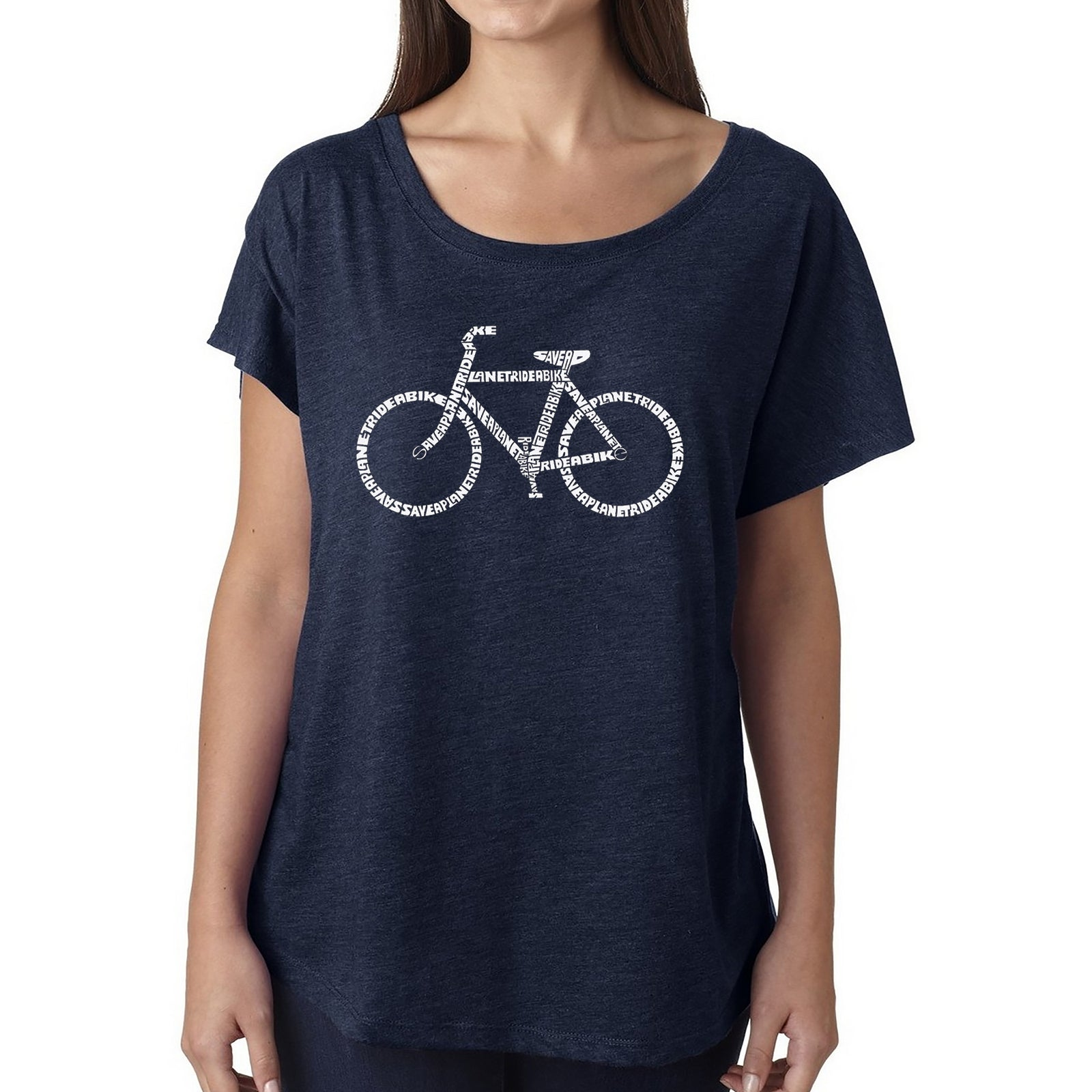 Women's Loose Fit Dolman Cut Word Art Shirt - SAVE A PLANET, RIDE A BIKE
