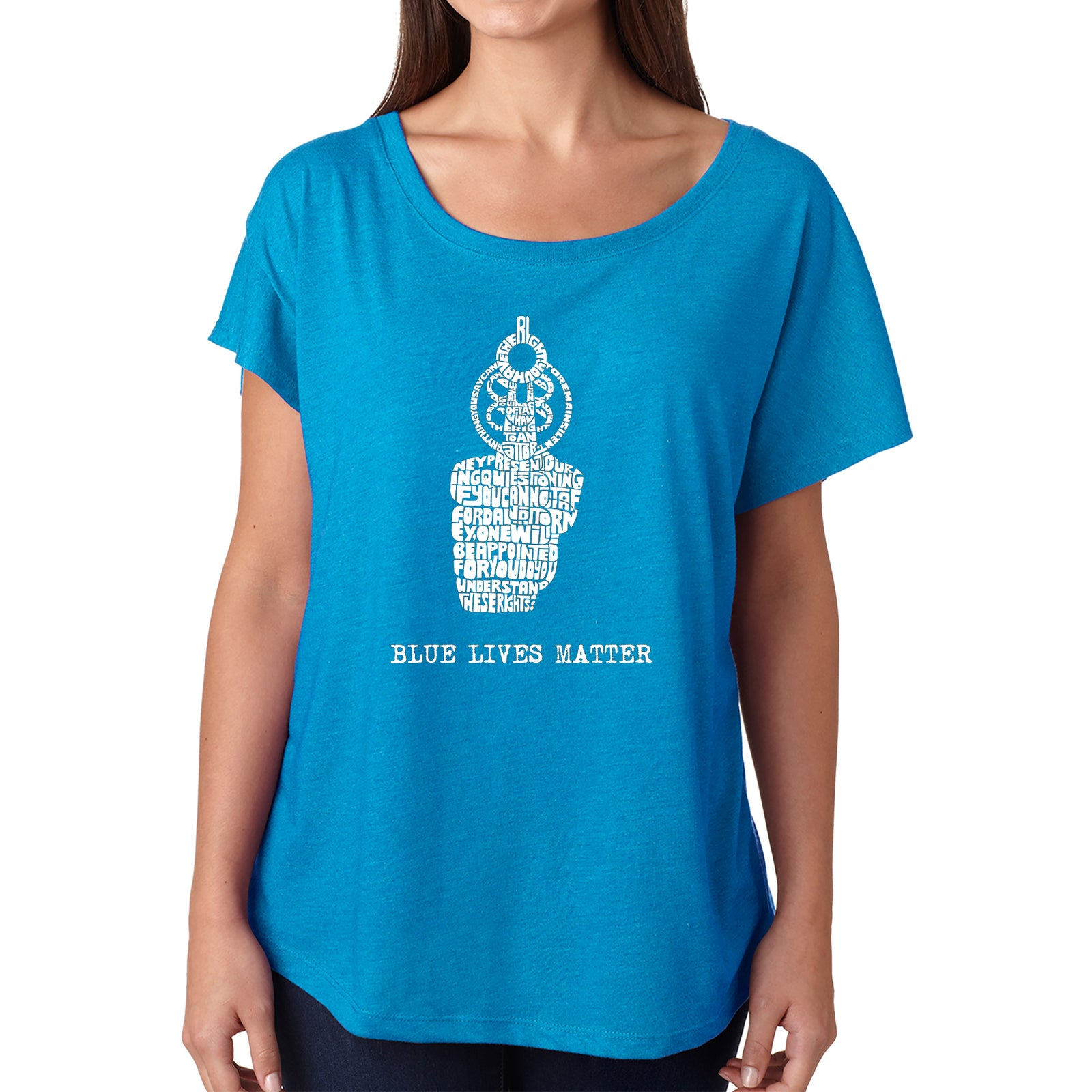 Women's Loose Fit Dolman Cut Word Art Shirt - Blue Lives Matter