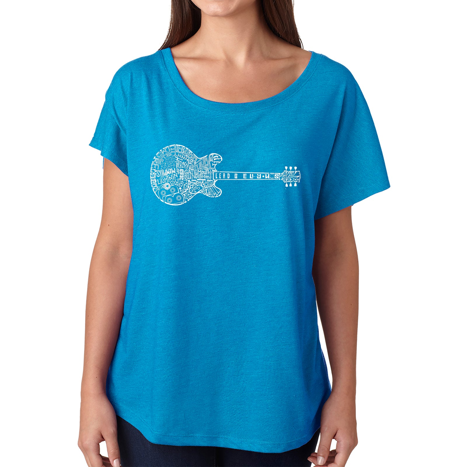 Women's Loose Fit Dolman Cut Word Art Shirt - Blues Legends