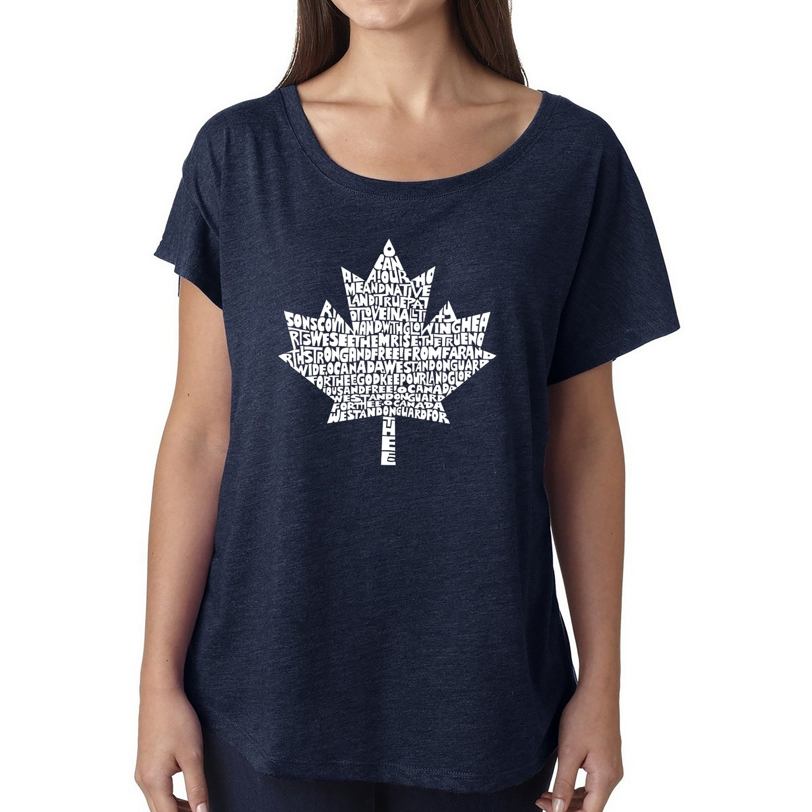 Women's Loose Fit Dolman Cut Word Art Shirt - CANADIAN NATIONAL ANTHEM