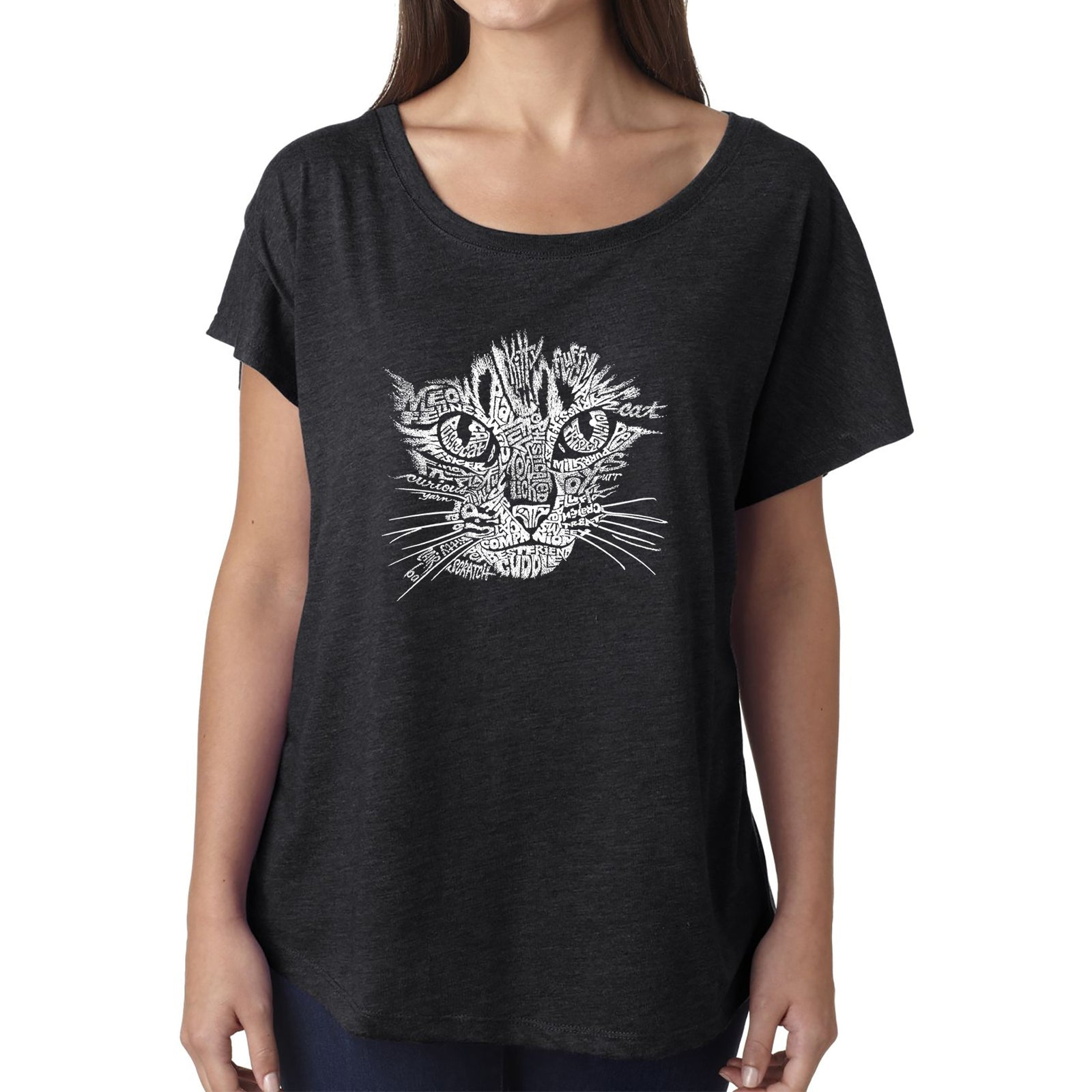 Women's Loose Fit Dolman Cut Word Art Shirt - Cat Face