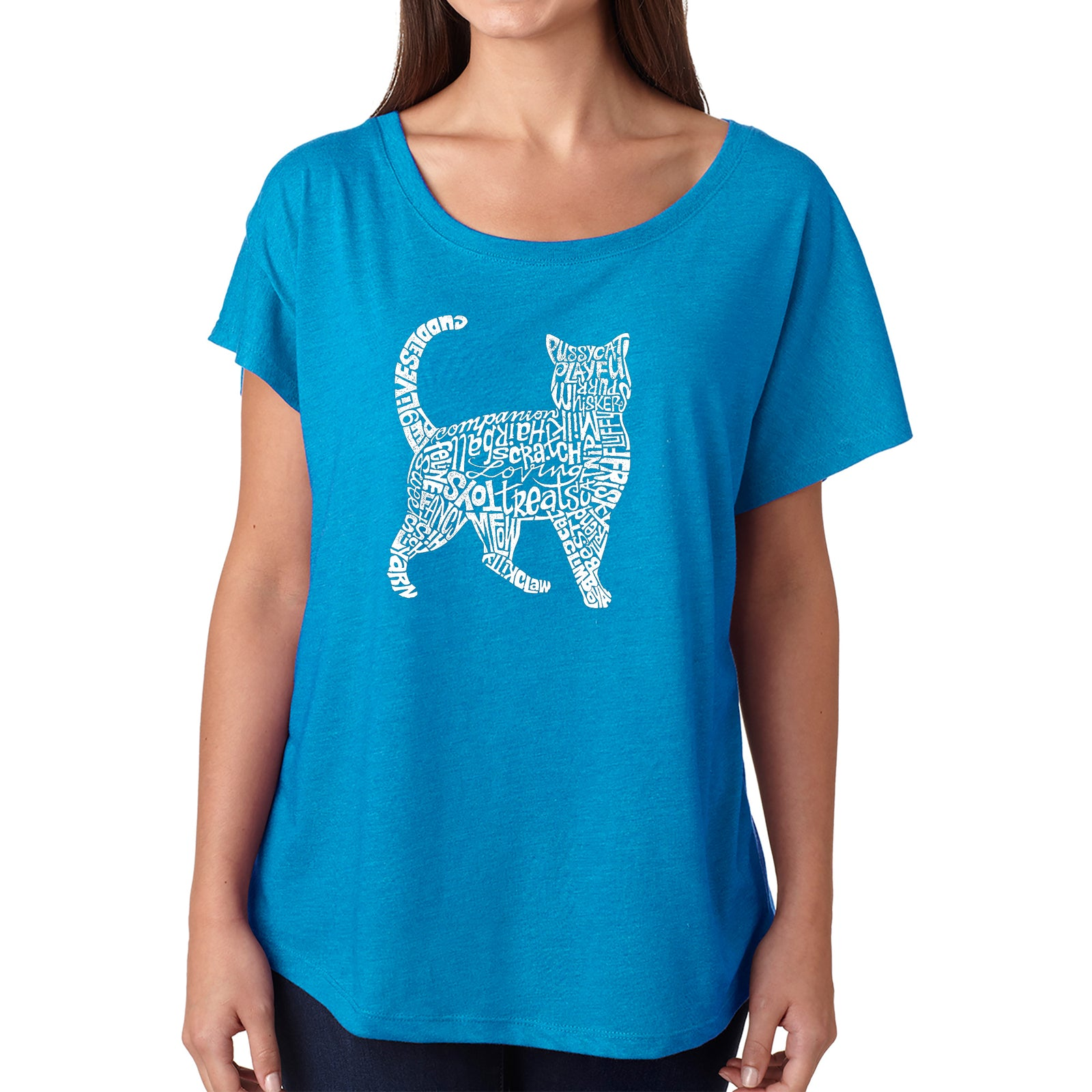 Women's Loose Fit Dolman Cut Word Art Shirt - Cat