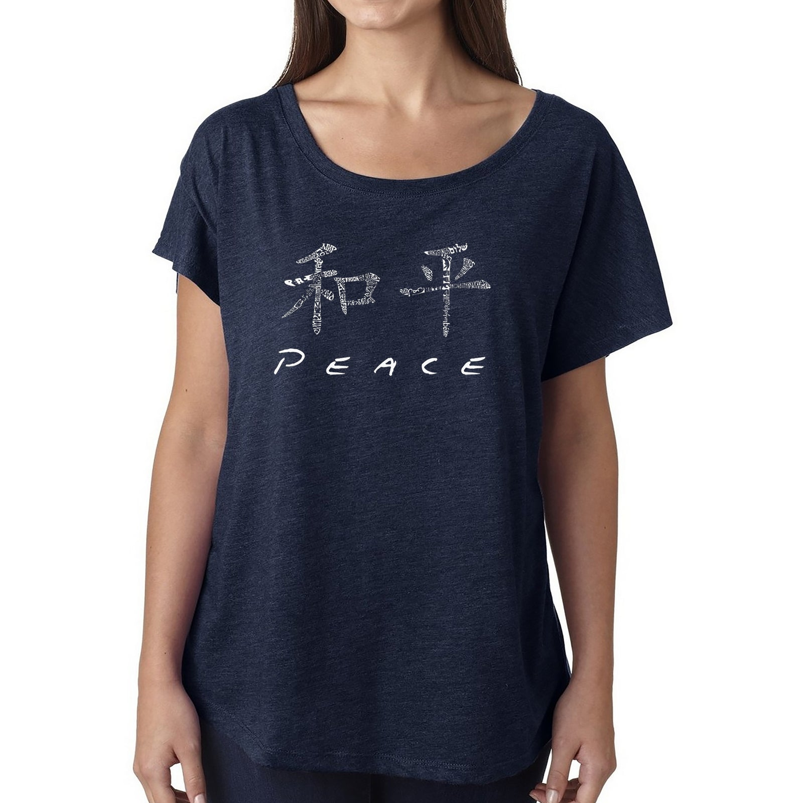 Women's Loose Fit Dolman Cut Word Art Shirt - CHINESE PEACE SYMBOL