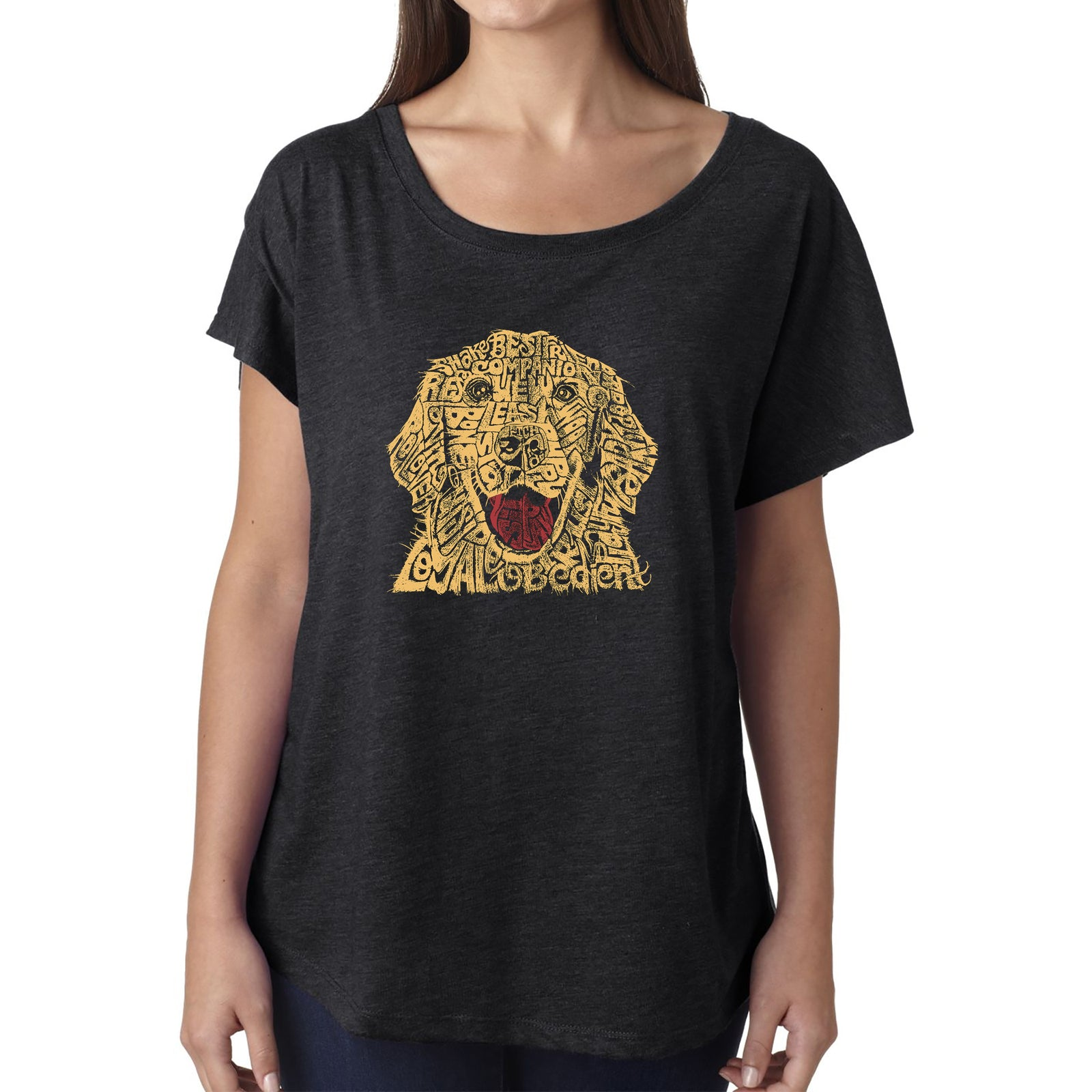 Women's Loose Fit Dolman Cut Word Art Shirt - Dog