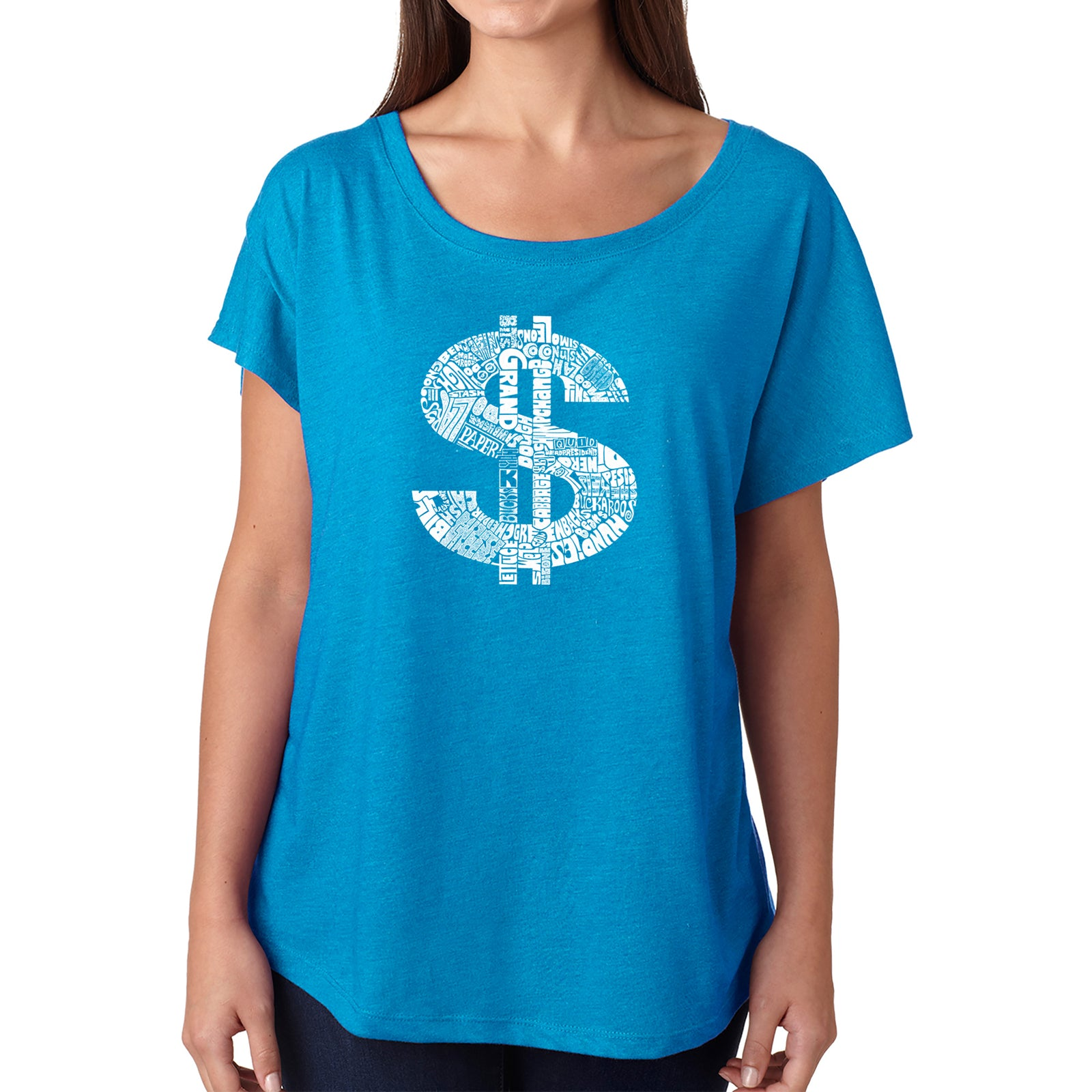 Women's Loose Fit Dolman Cut Word Art Shirt - Dollar Sign