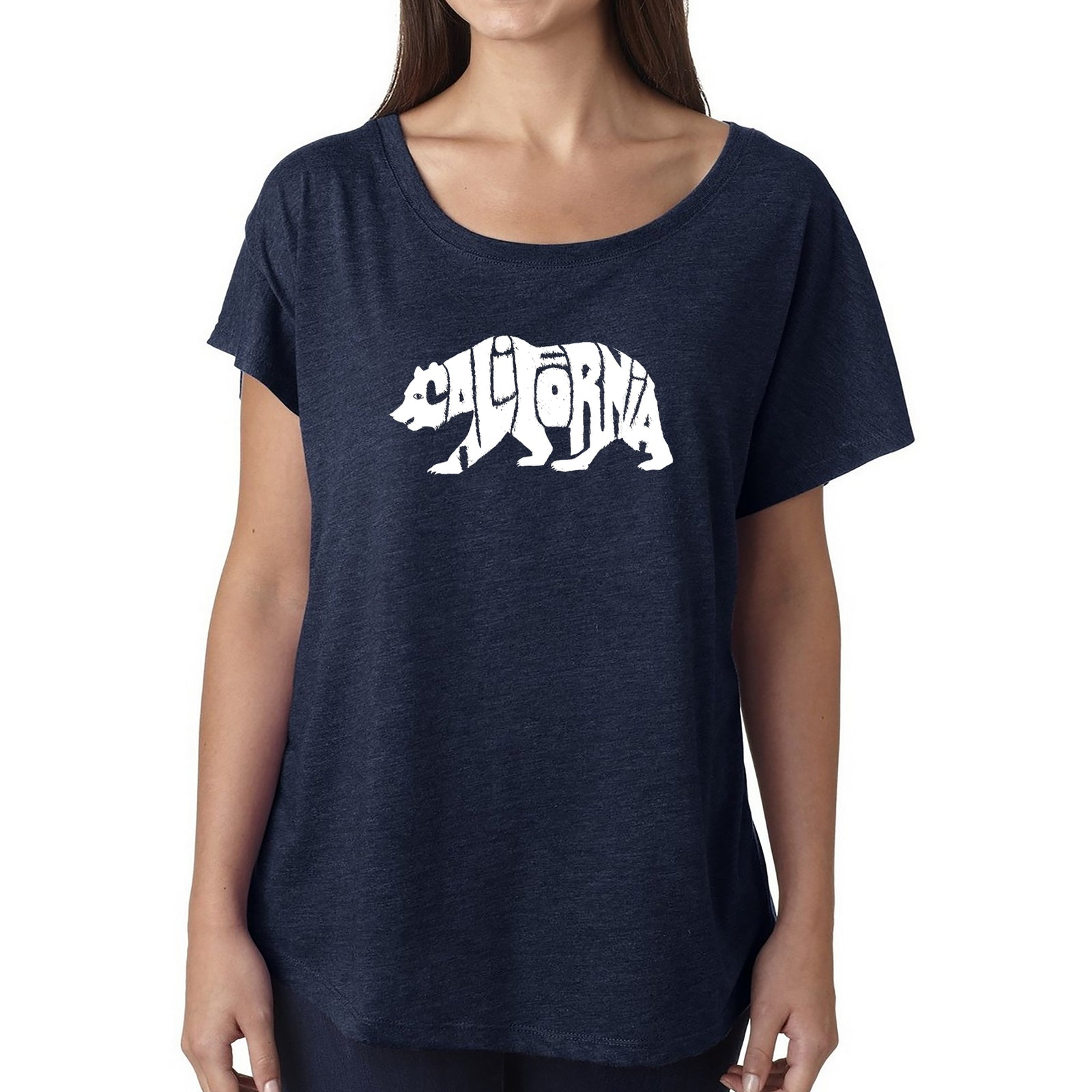 Women's Loose Fit Dolman Cut Word Art Shirt - California Bear