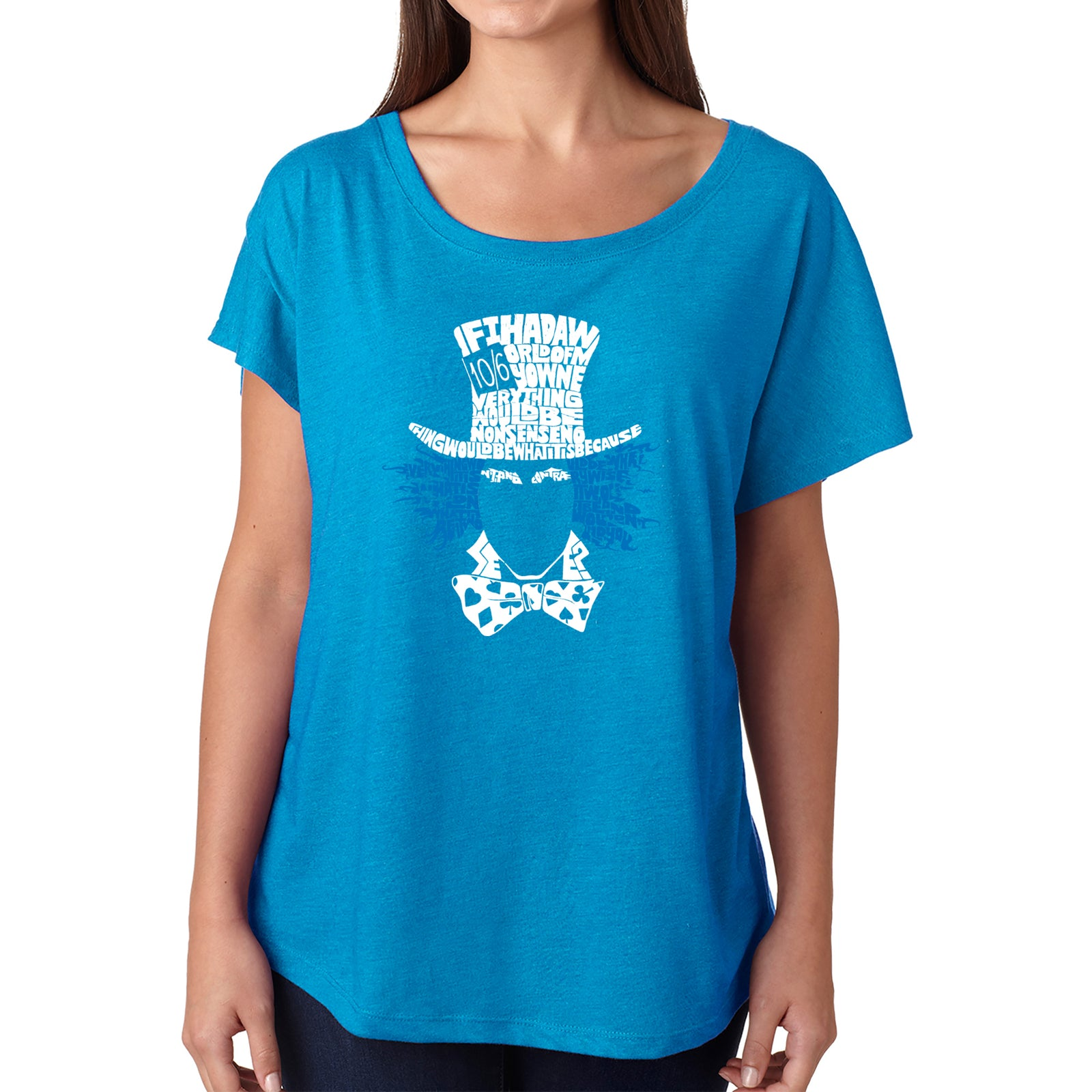 Women's Loose Fit Dolman Cut Word Art Shirt - The Mad Hatter