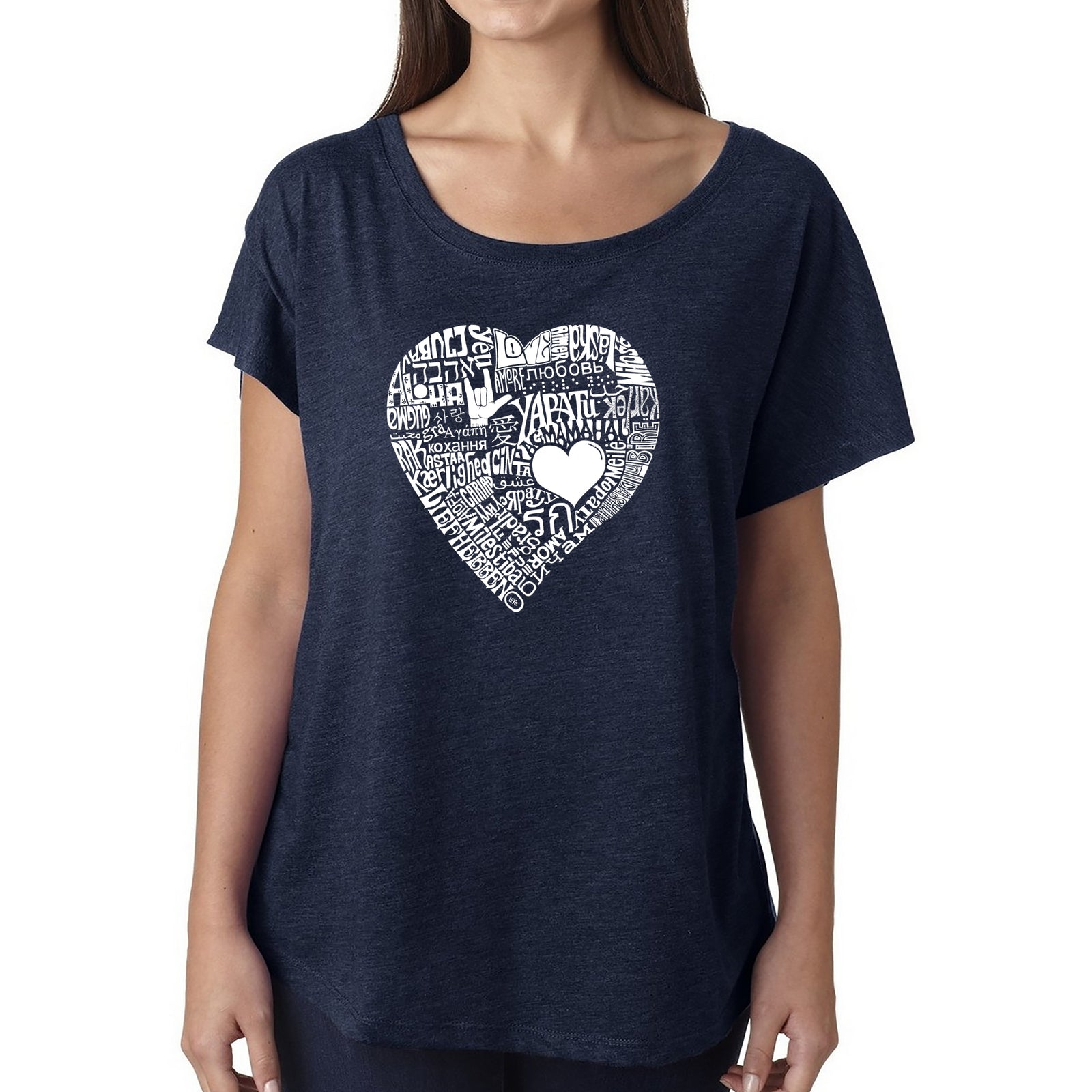 Women's Loose Fit Dolman Cut Word Art Shirt - LOVE IN 44 DIFFERENT LANGUAGES