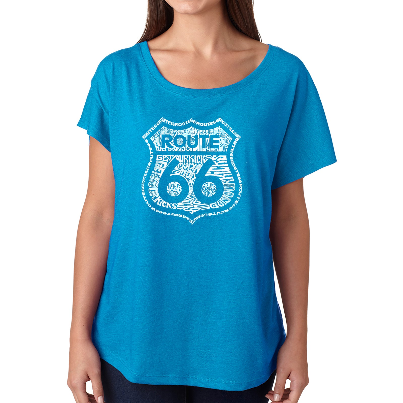 Women's Loose Fit Dolman Cut Word Art Shirt - Get Your Kicks on Route 66
