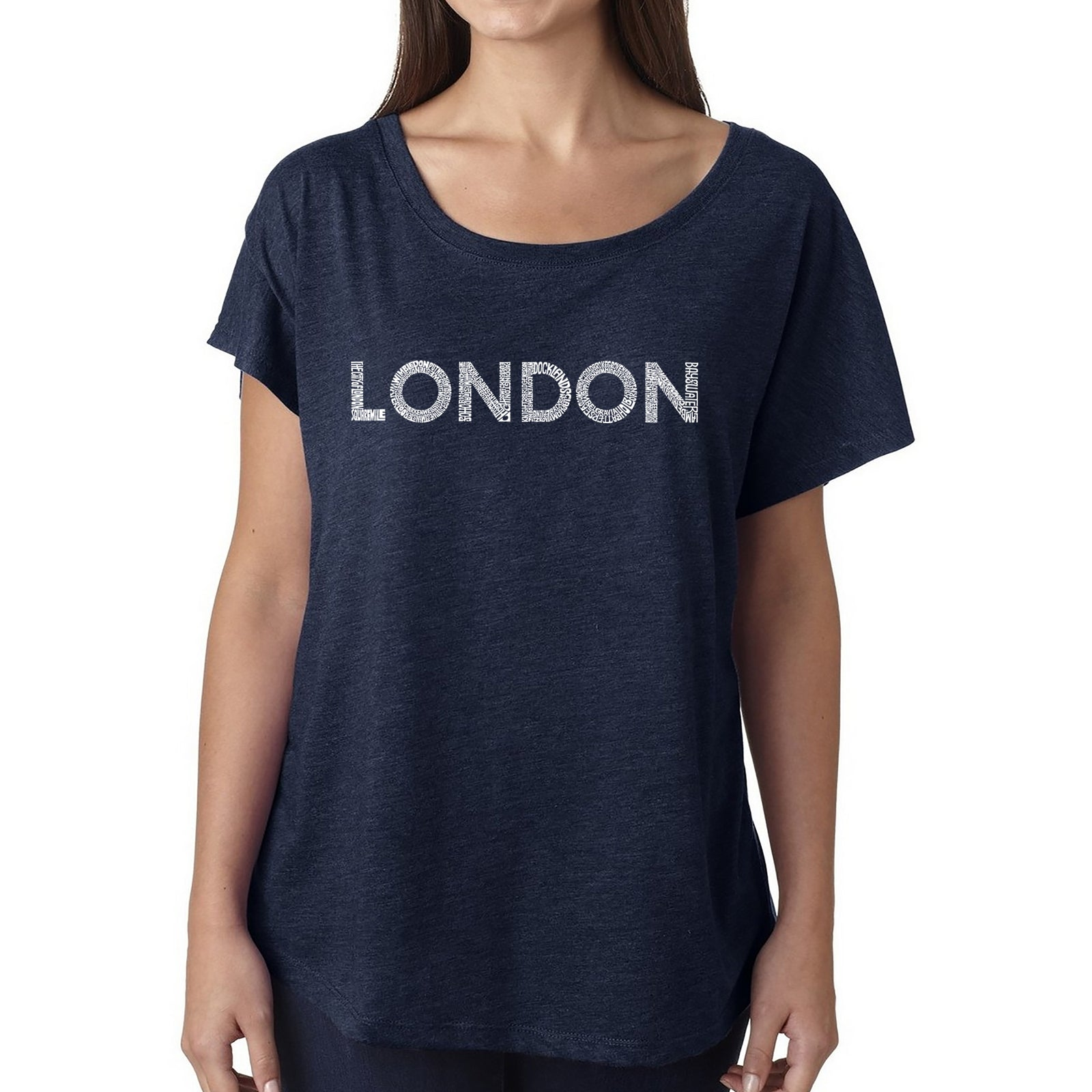 Women's Loose Fit Dolman Cut Word Art Shirt - LONDON NEIGHBORHOODS