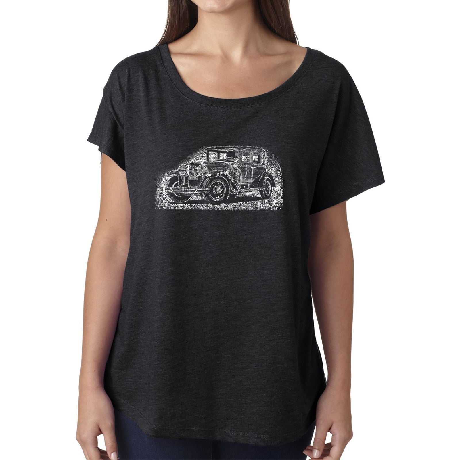 Women's Loose Fit Dolman Cut Word Art Shirt - Legendary Mobsters