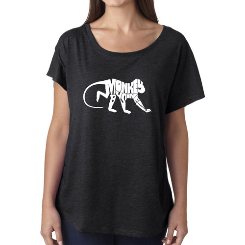Women's Loose Fit Dolman Cut Word Art Shirt - Monkey Business