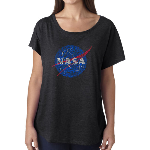 Women's Loose Fit Dolman Cut Word Art Shirt - NASA's Most Notable Missions