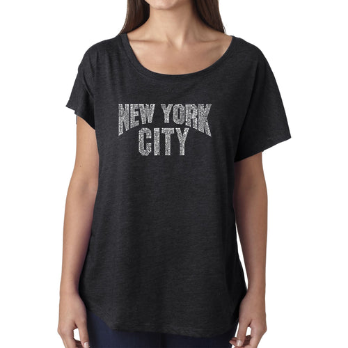 Women's Loose Fit Dolman Cut Word Art Shirt - NYC NEIGHBORHOODS