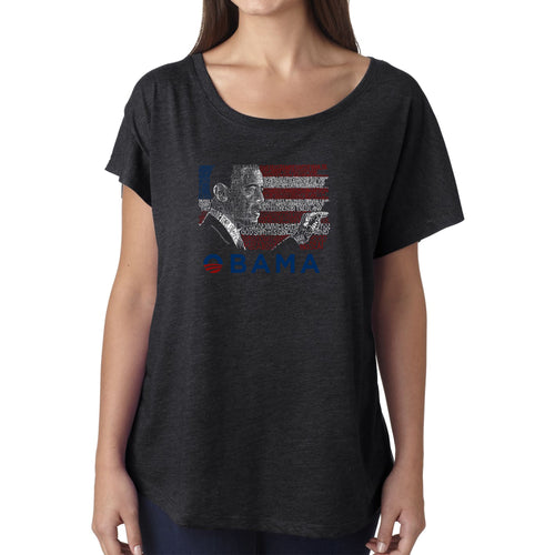 Women's Loose Fit Dolman Cut Word Art Shirt - BARACK OBAMA - ALL LYRICS TO AMERICA THE BEAUTIFUL