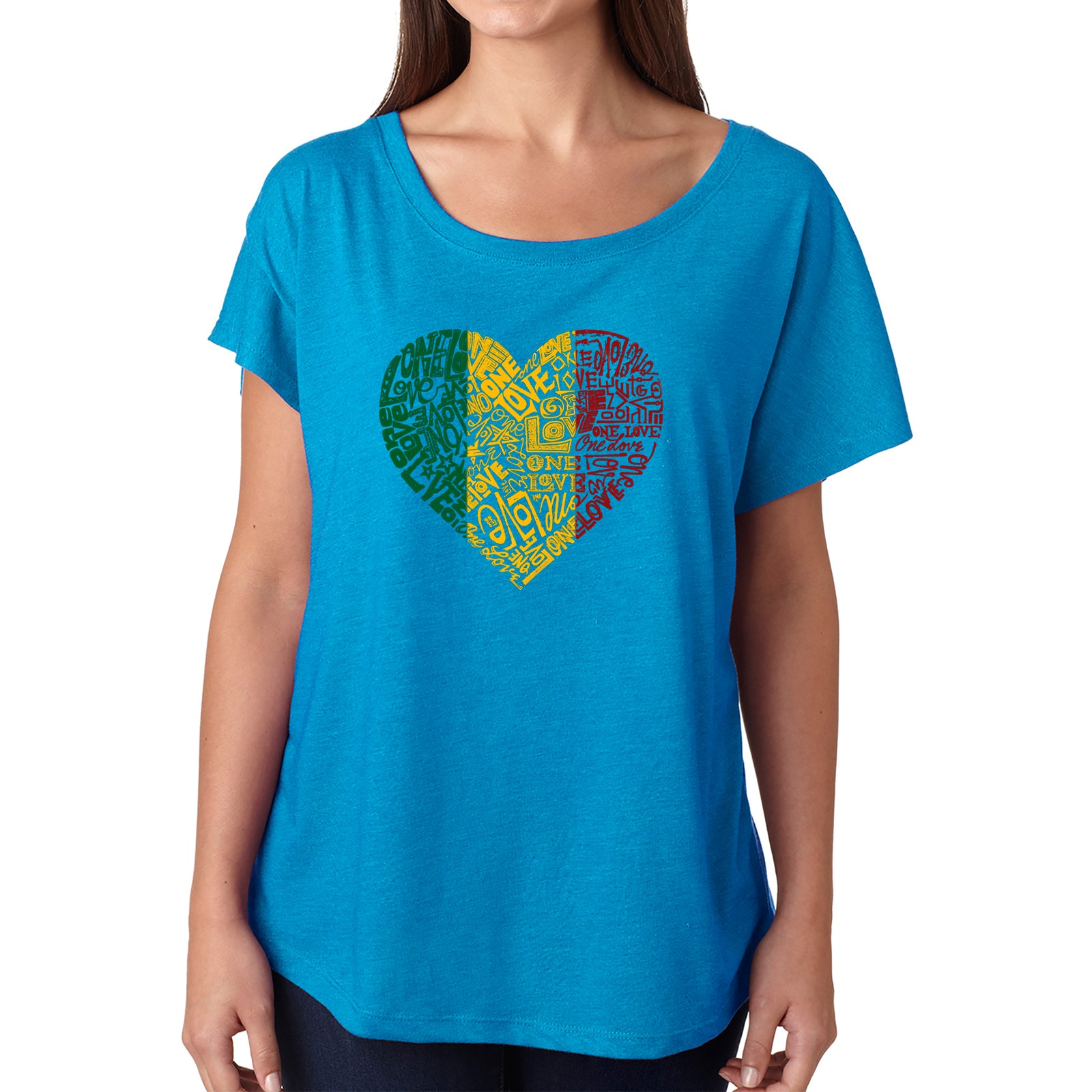Women's Loose Fit Dolman Cut Word Art Shirt - One Love Heart