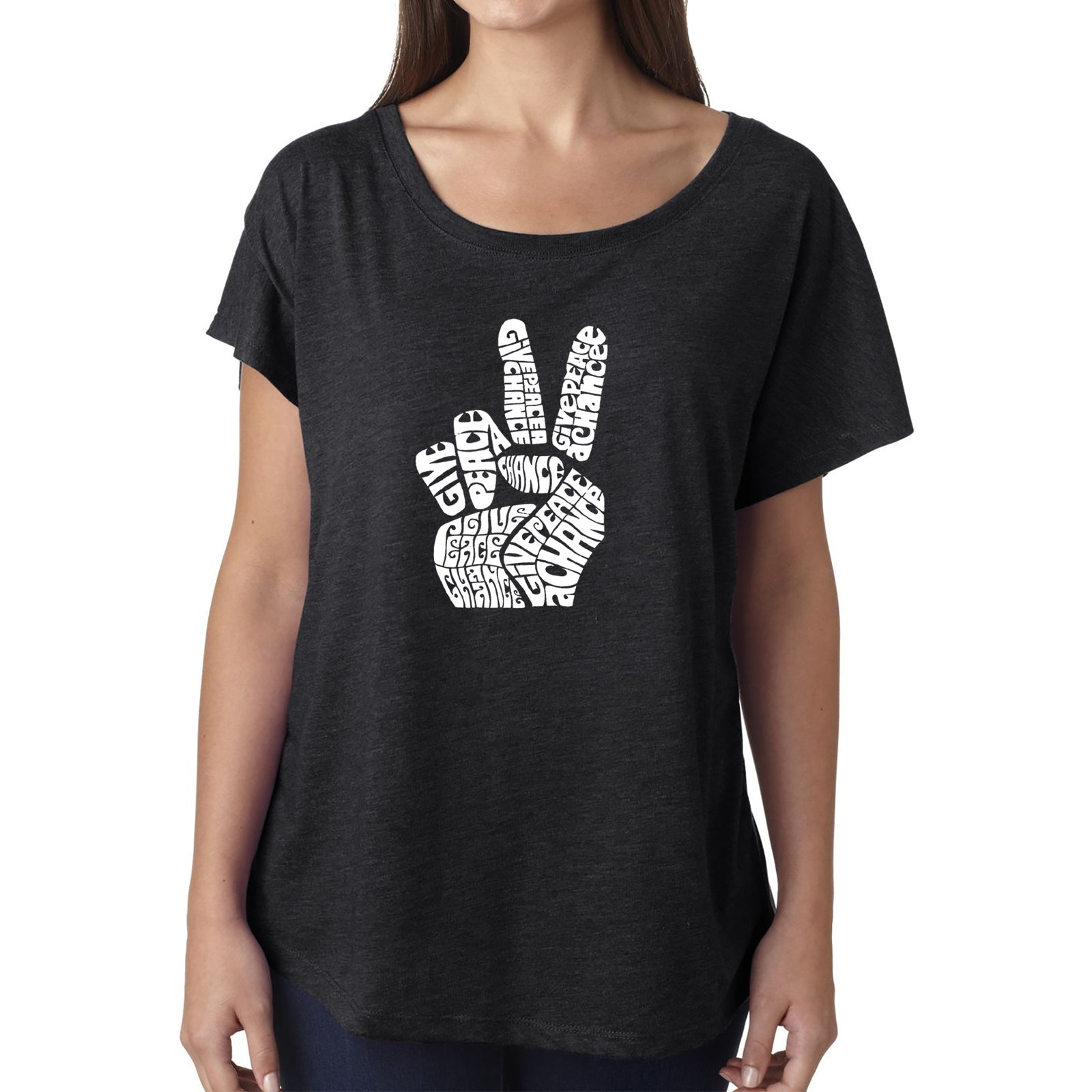 Women's Loose Fit Dolman Cut Word Art Shirt - PEACE FINGERS