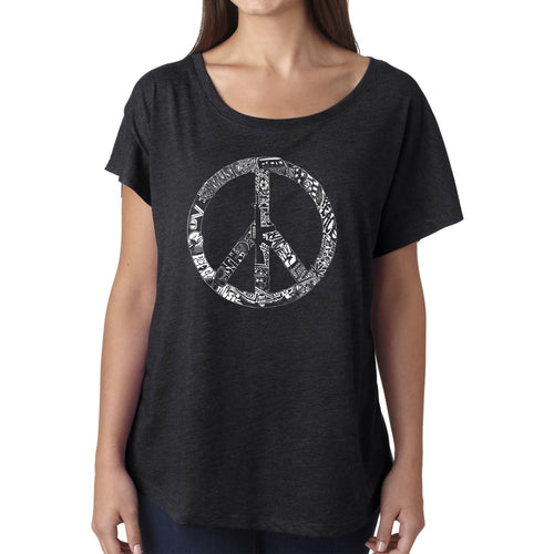 Women's Loose Fit Dolman Cut Word Art Shirt - PEACE, LOVE, & MUSIC
