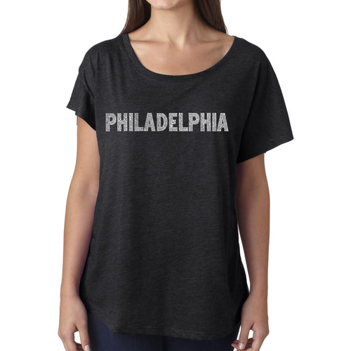 Women's Loose Fit Dolman Cut Word Art Shirt - PHILADELPHIA NEIGHBORHOODS