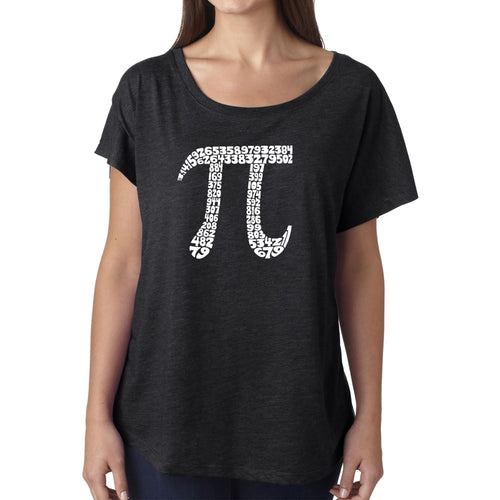 Women's Loose Fit Dolman Cut Word Art Shirt - THE FIRST 100 DIGITS OF PI