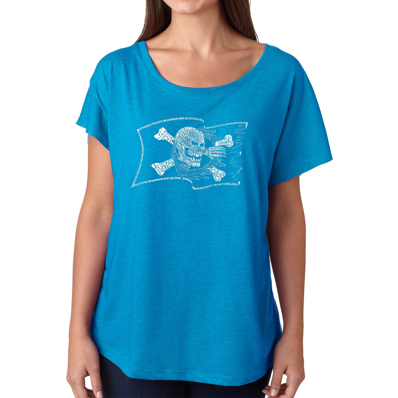 Women's Loose Fit Dolman Cut Word Art Shirt - FAMOUS PIRATE CAPTAINS AND SHIPS