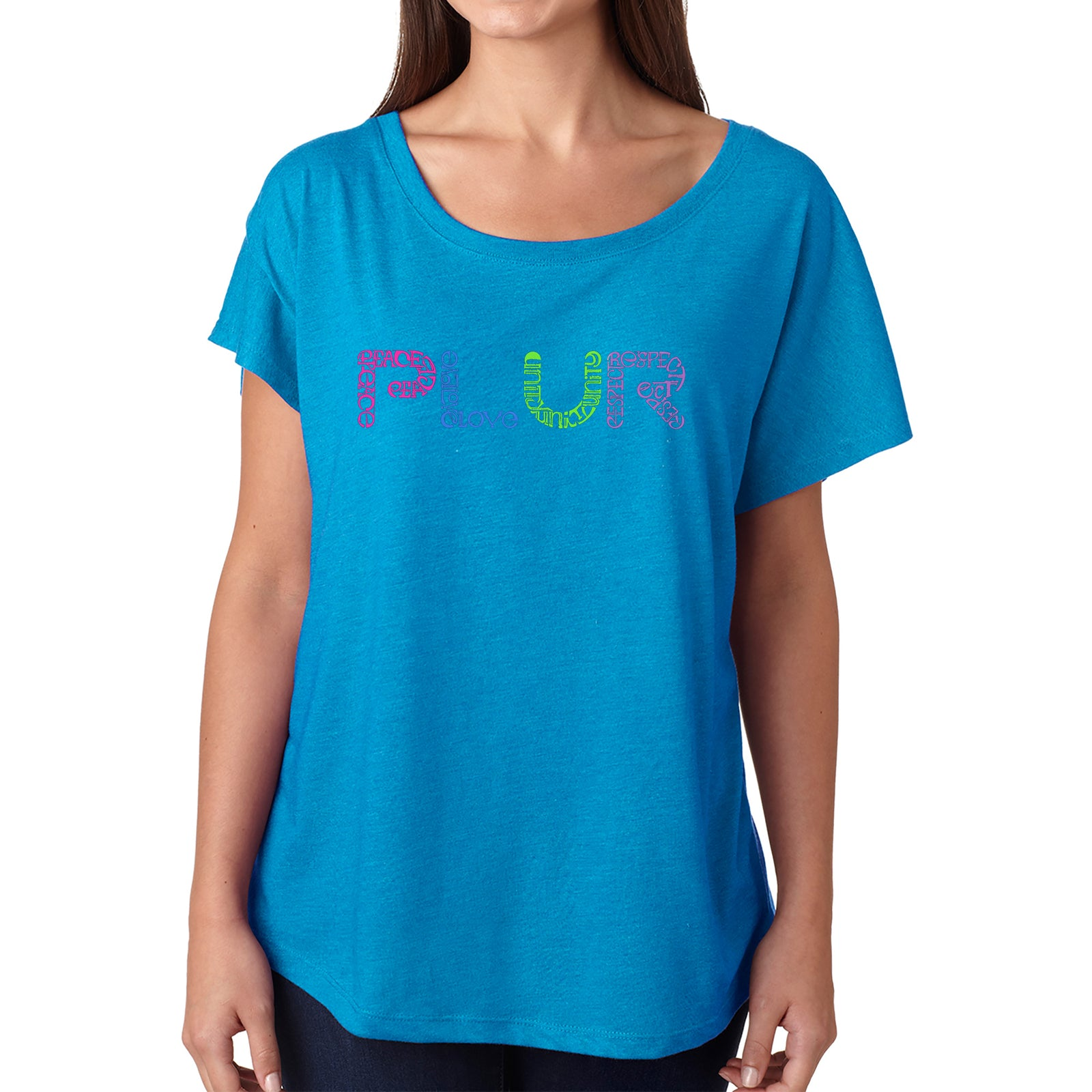 Women's Loose Fit Dolman Cut Word Art Shirt - PLUR