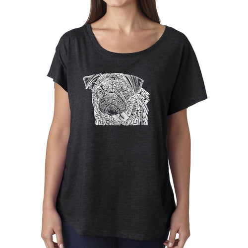 Women's Loose Fit Dolman Cut Word Art Shirt - Pug Face